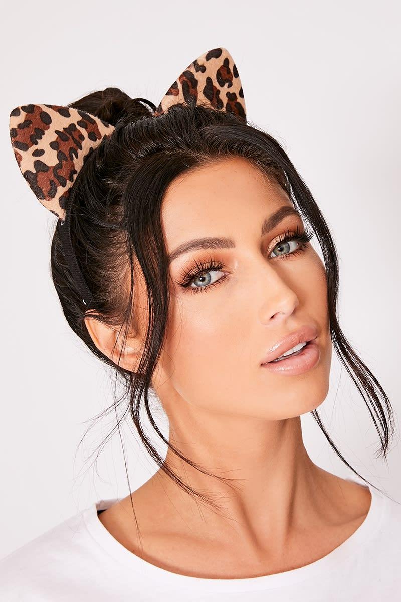 LEOPARD PRINT CAT EAR HEADBAND