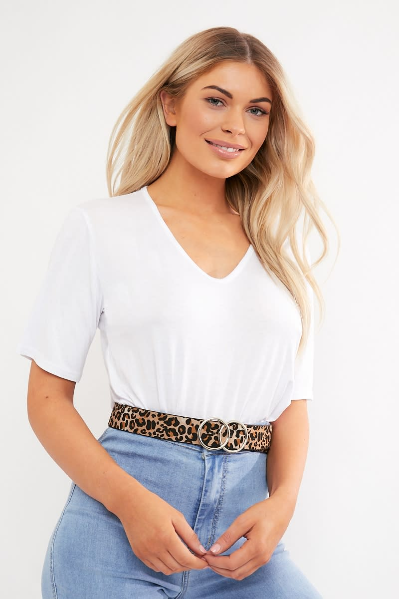 LEOPARD PRINT DOUBLE CIRCLE BELT