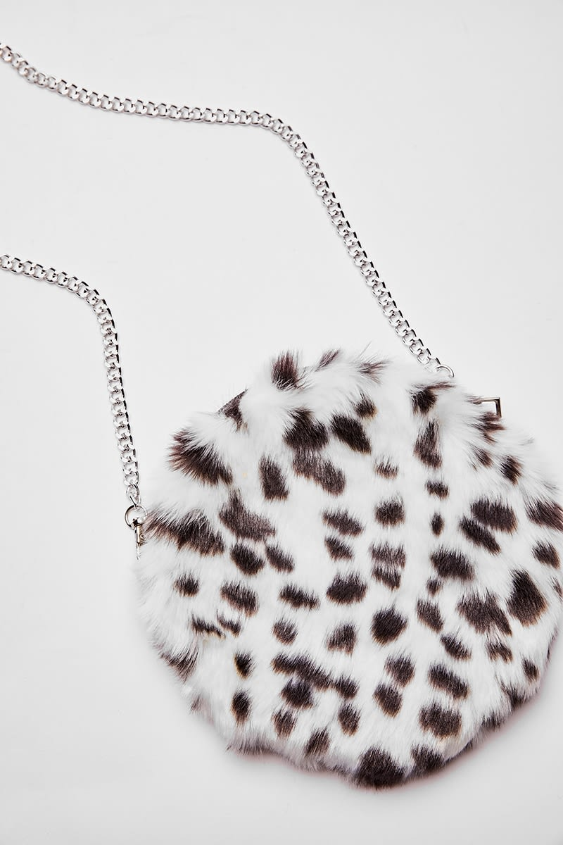 WHITE LEOPARD PRINT FAUX FUR BAG