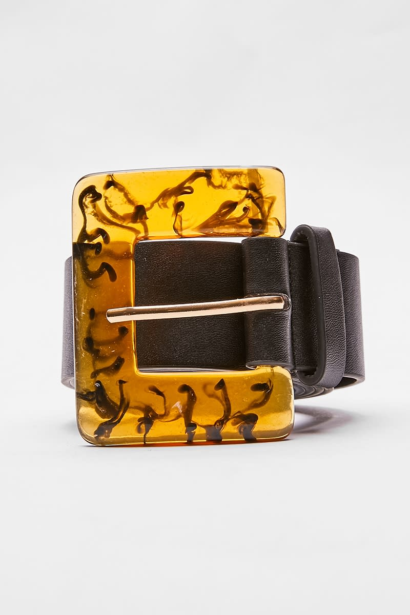 BLACK TORTOISHELL BUCKLE BELT
