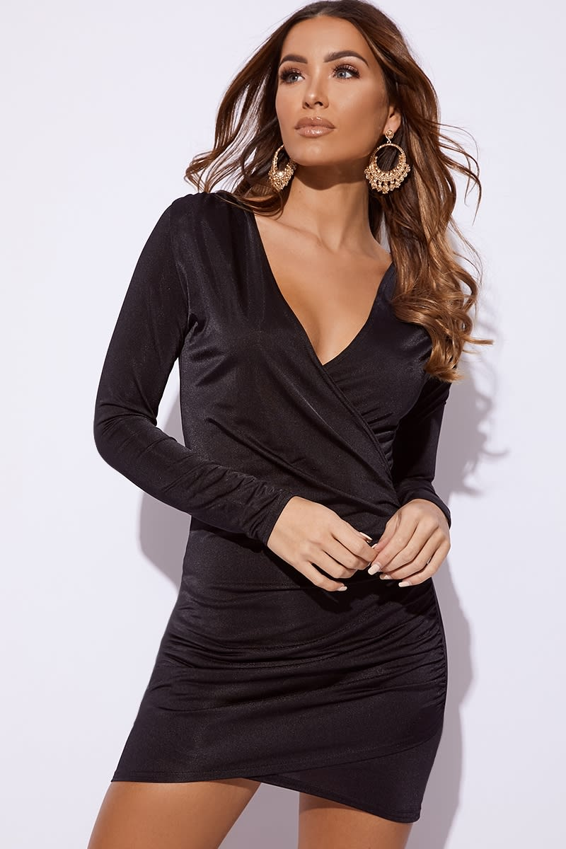 black plunge ruched mini dress