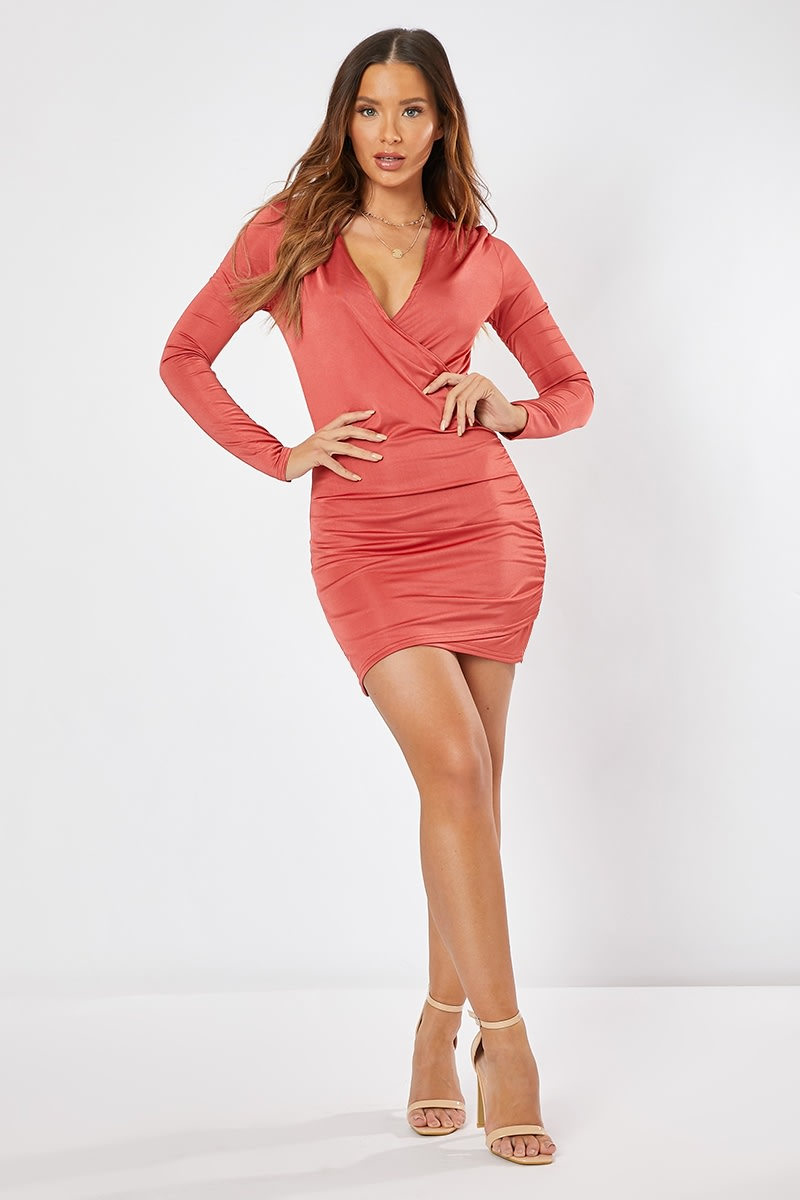 rust plunge ruched mini dress