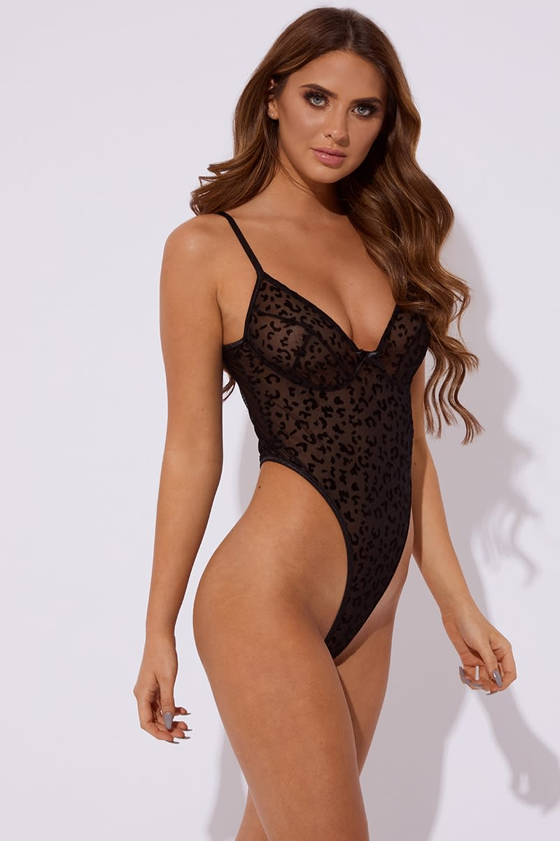 black leopard velvet and mesh bodysuit