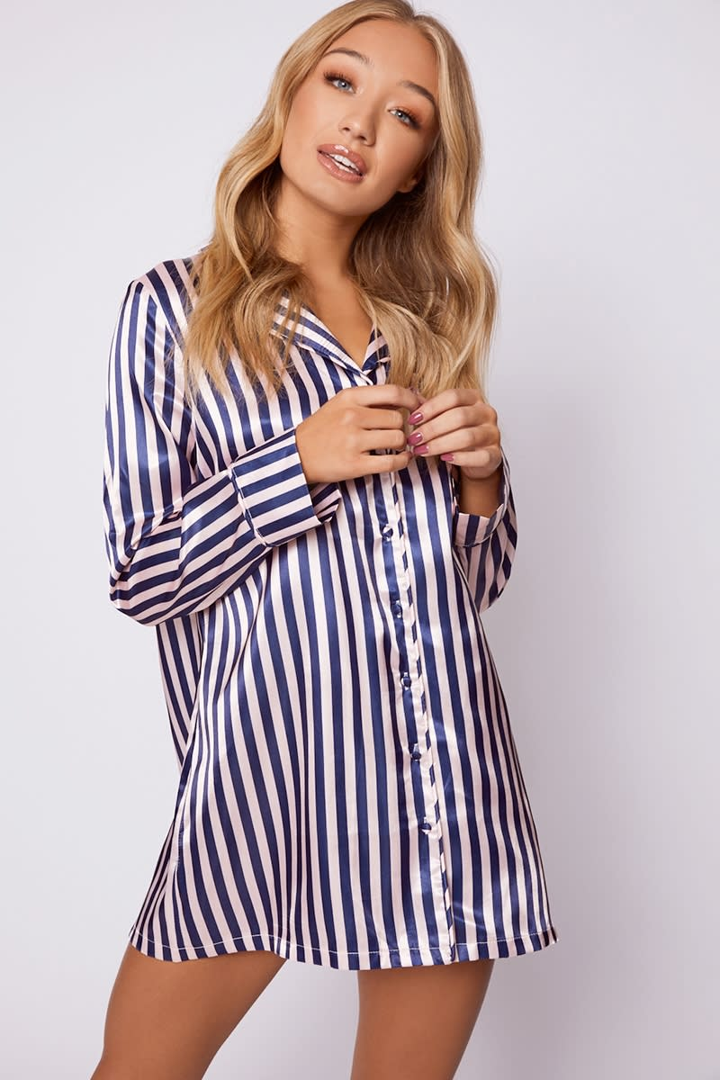 navy satin stripe piping detail night dress