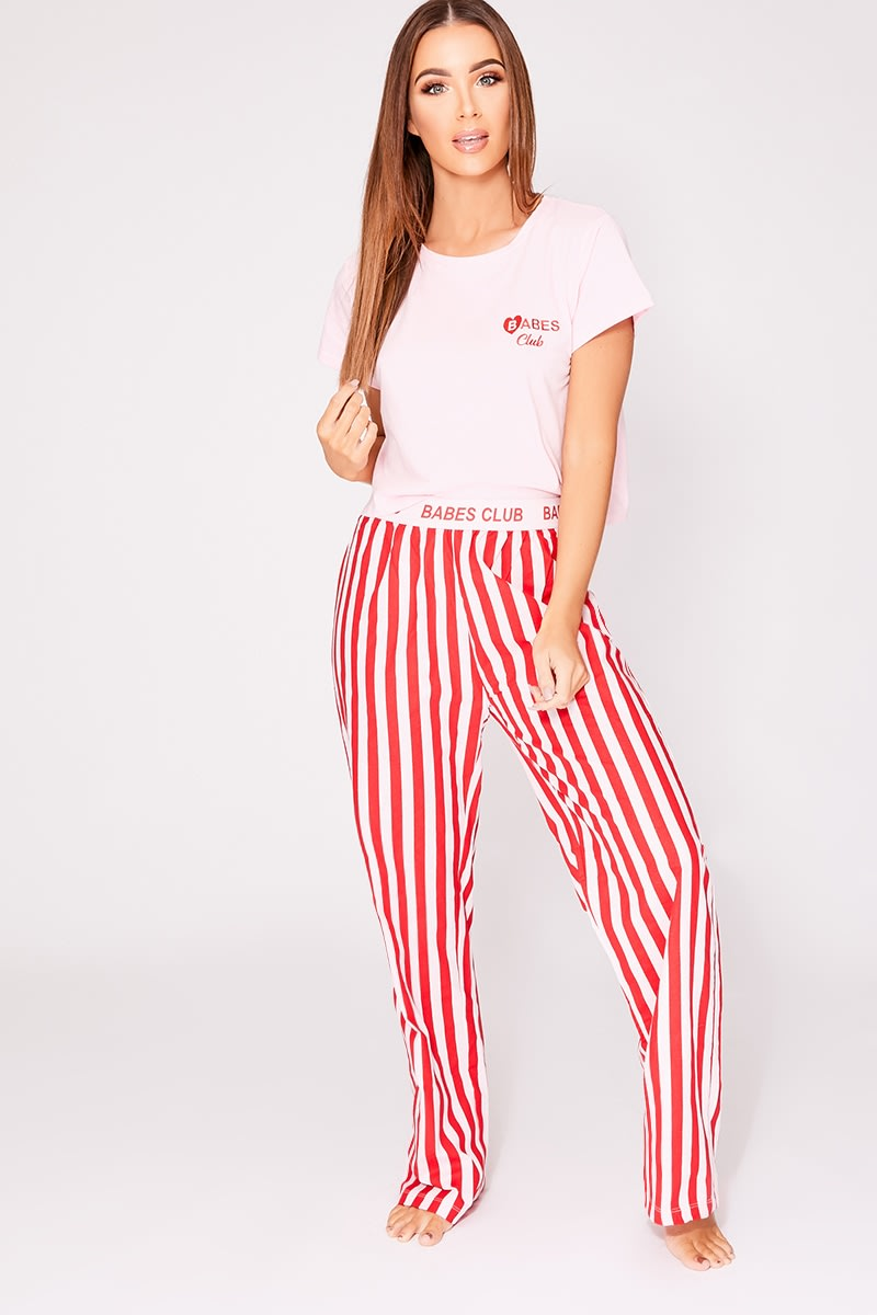 BABES CLUB RED STRIPED PYJAMA SET