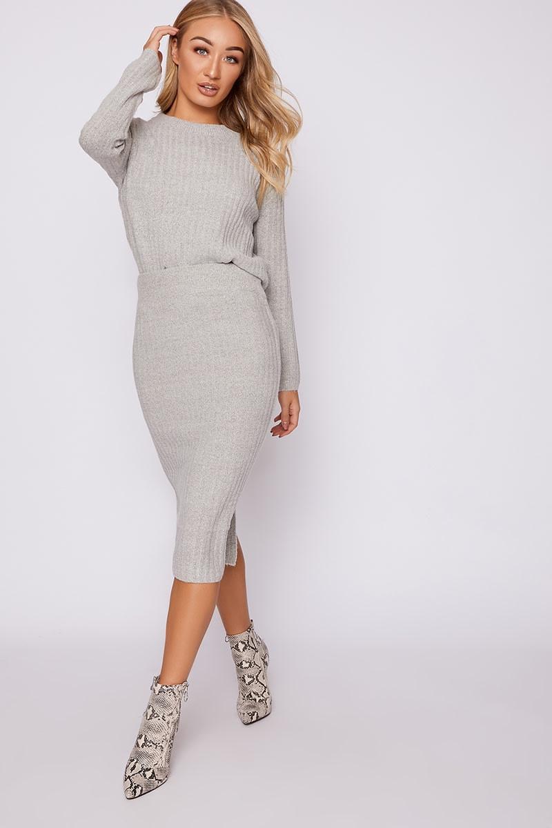grey oversized jumper & midi skirt co-ord