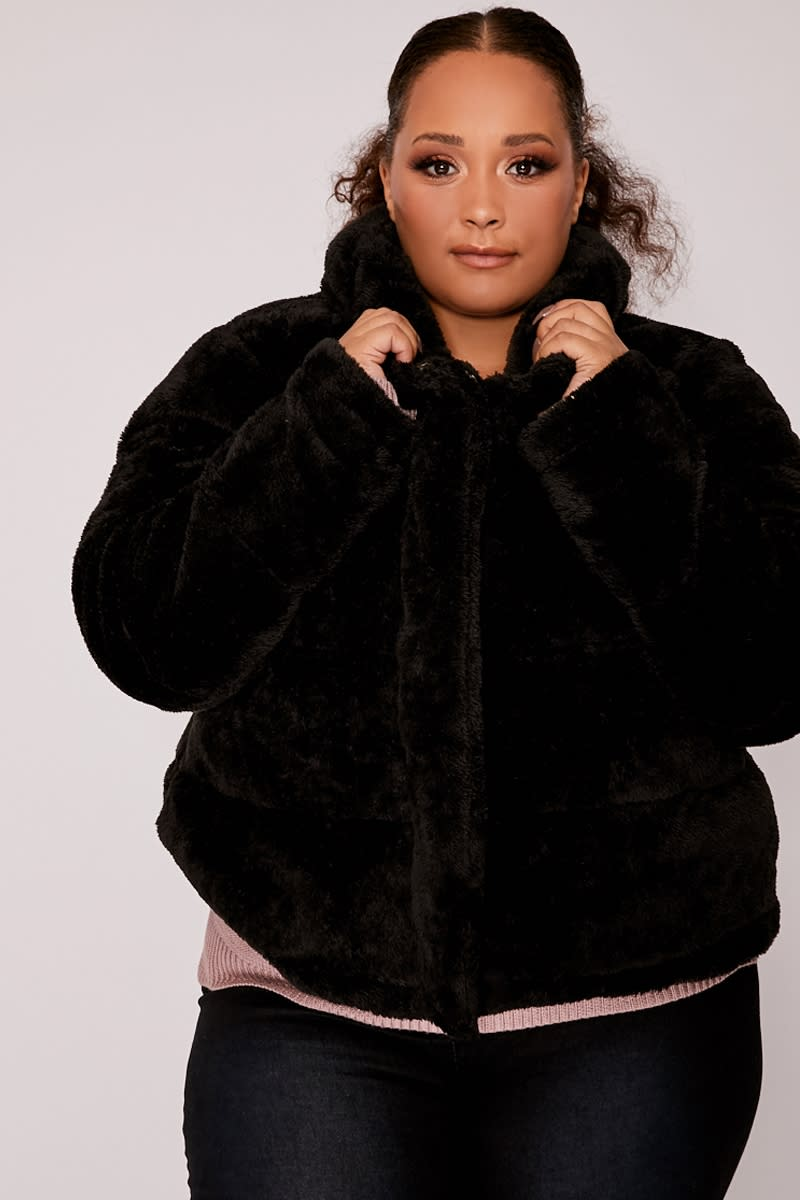 CURVE HAYLI BLACK CROPPED FAUX FUR PADDED PUFFER JACKET