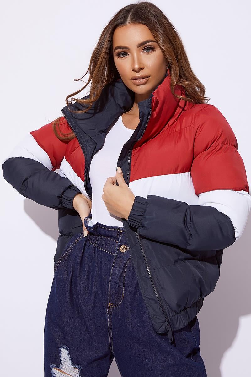 multi colour block puffer jacket