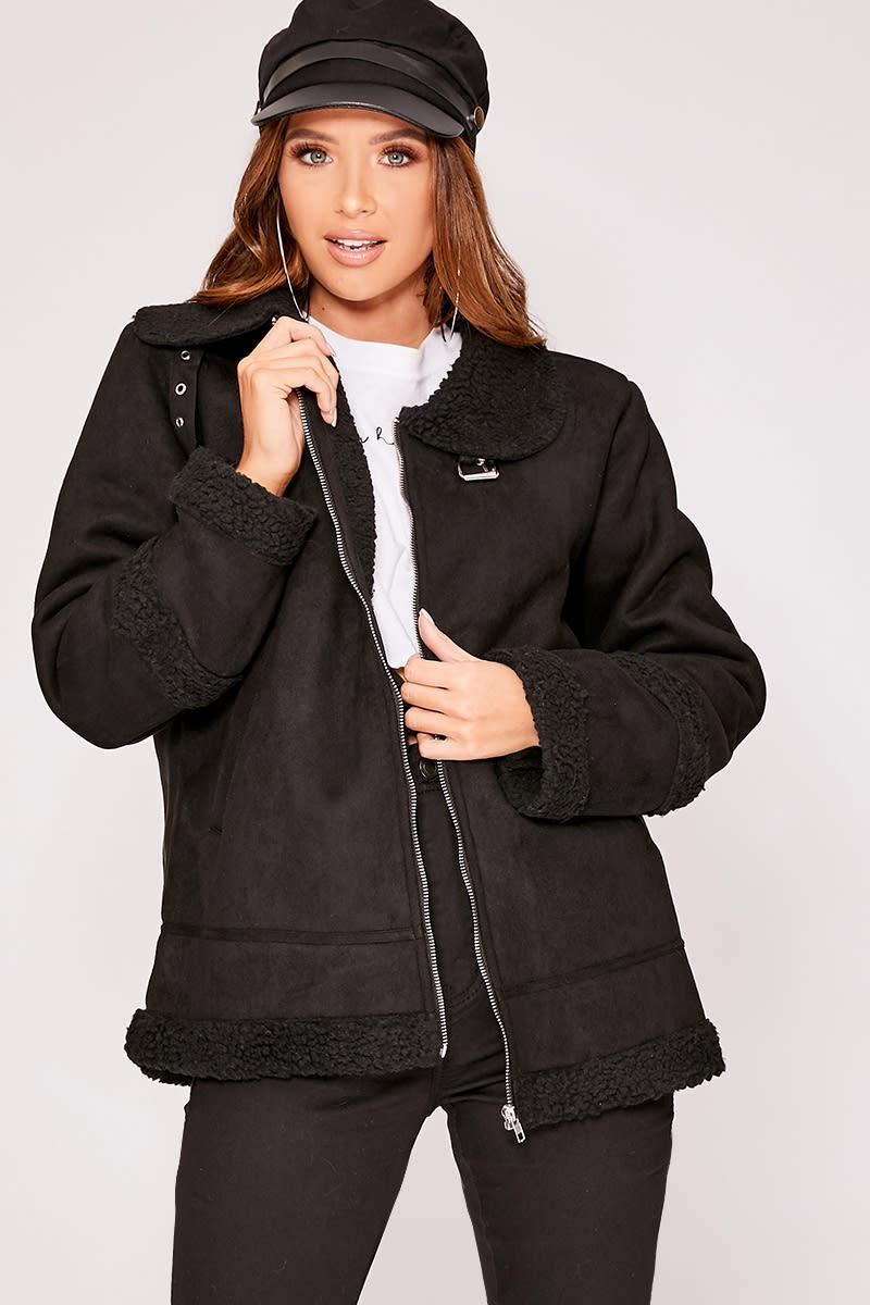 black shearling suede aviator jacket