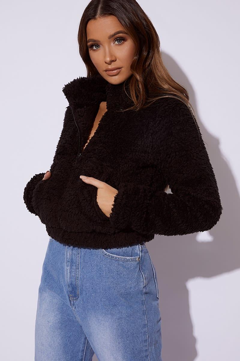 black cropped borg pullover jacket
