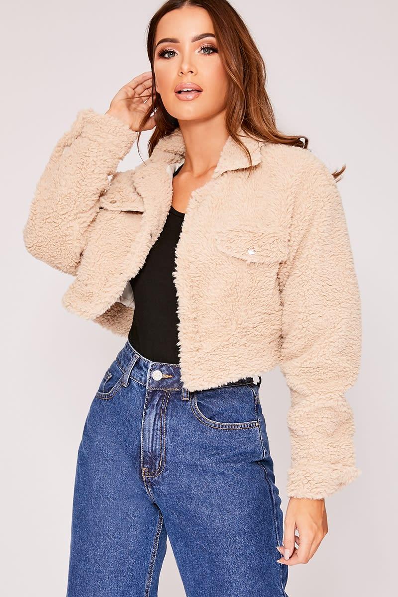 camel teddy fur cropped trucker jacket