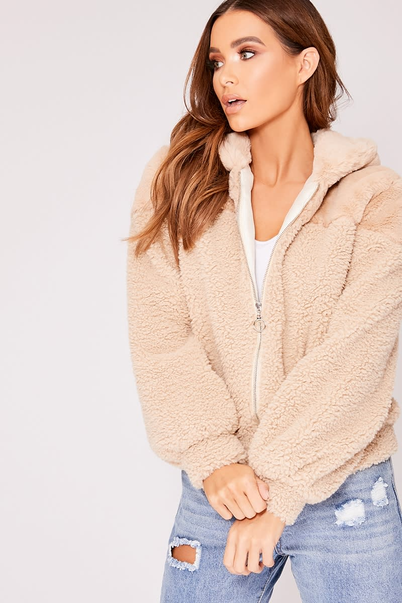 camel faux fur and shearling bomber jacket