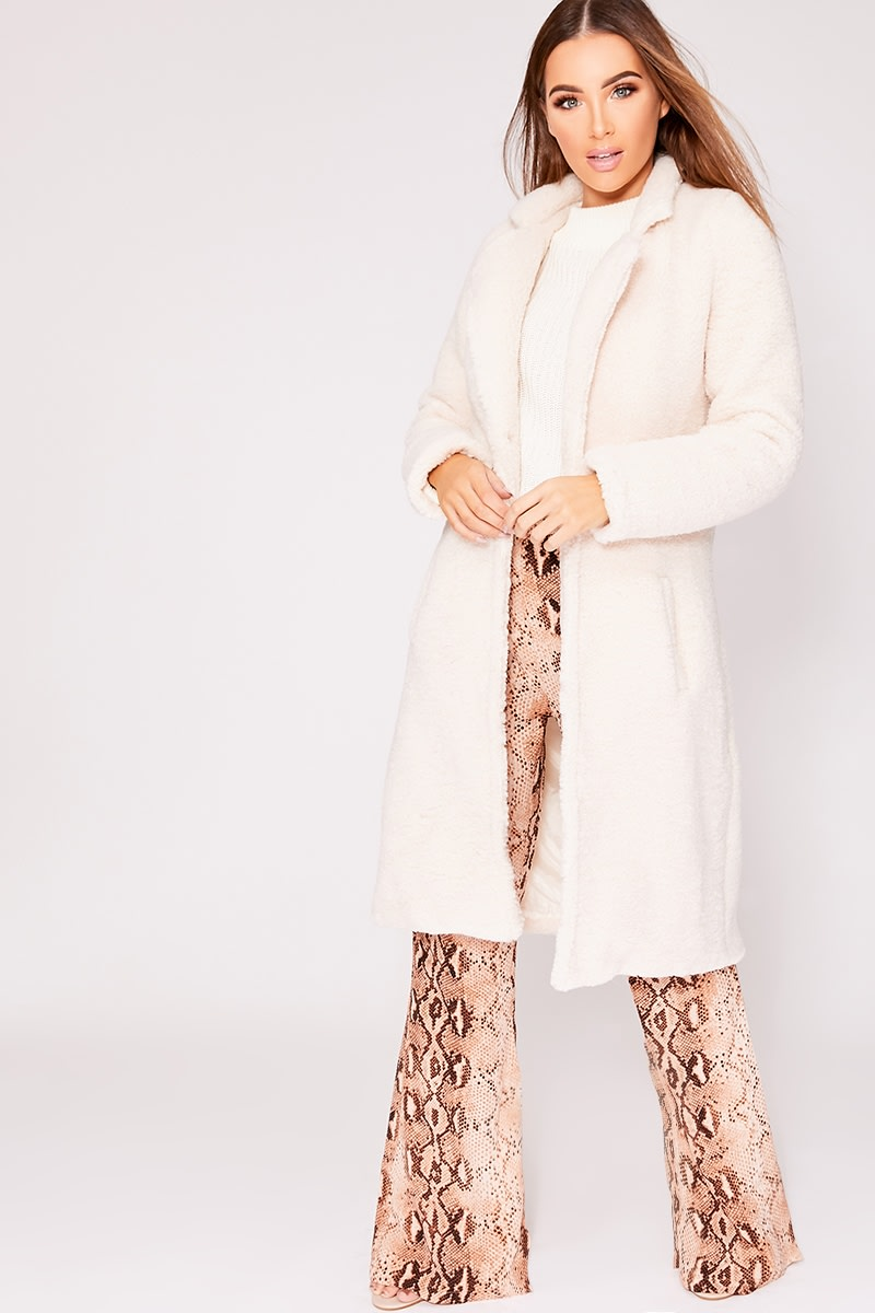 cream longline teddy fur coat
