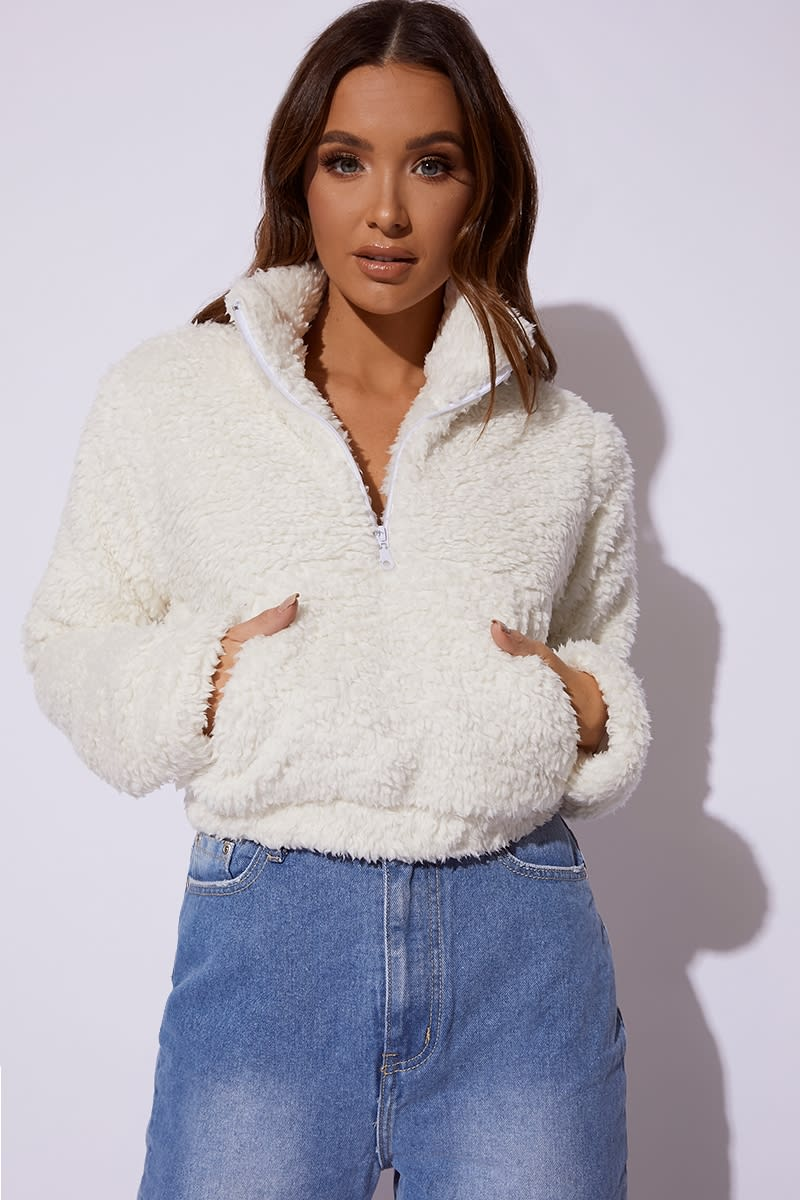 cream cropped borg pullover jacket