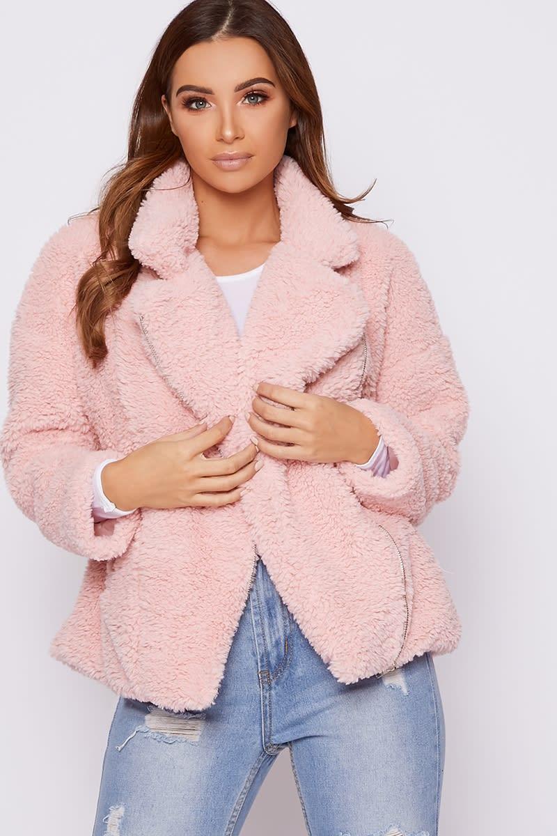 pink teddy fur aviator jacket