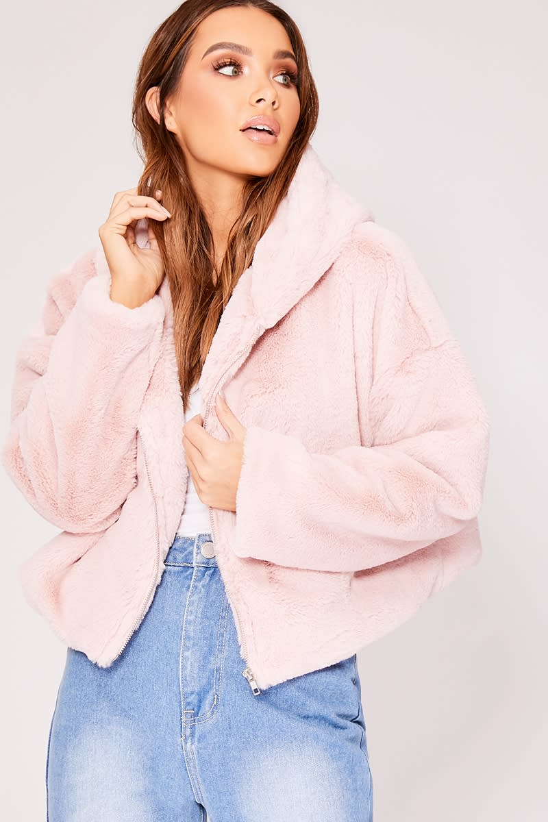 IVY PINK FAUX FUR HOODED CROPPED JACKET