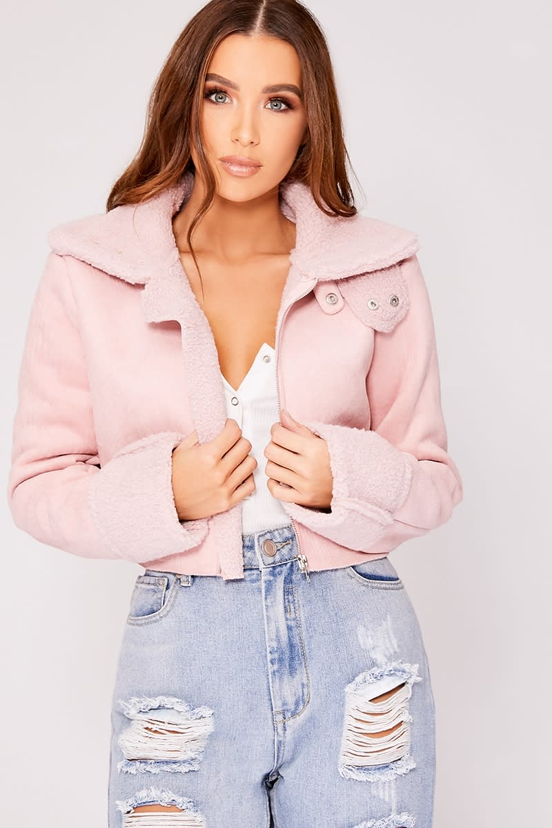 pink shearling faux suede cropped jacket