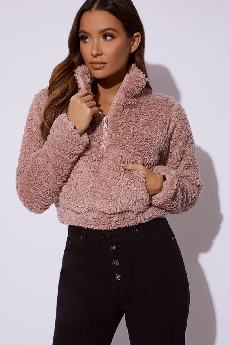 dusty pink cropped borg pullover jacket