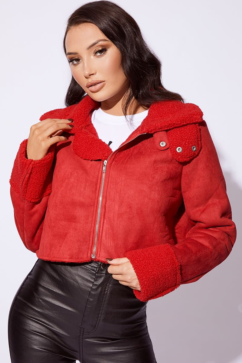 red shearling faux suede cropped jacket