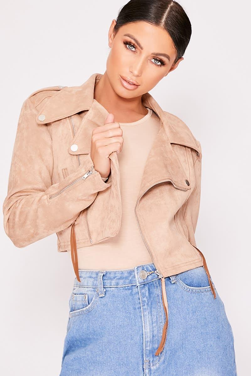 stone faux suede cropped biker jacket
