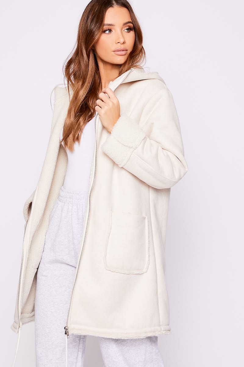 white borg faux suede longline hooded coat