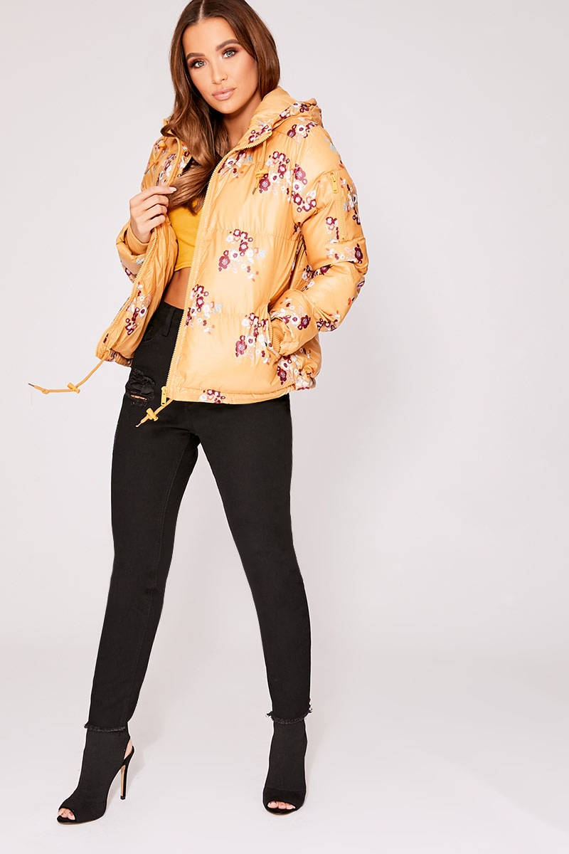 HARLEIGH YELLOW FLORAL PRINT PADDED JACKET WITH HOOD