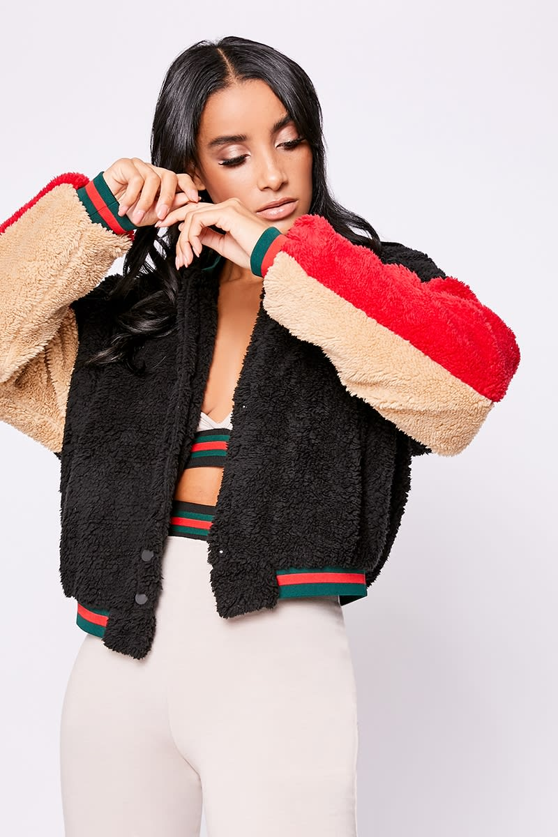 black contrast teddy fur bomber jacket