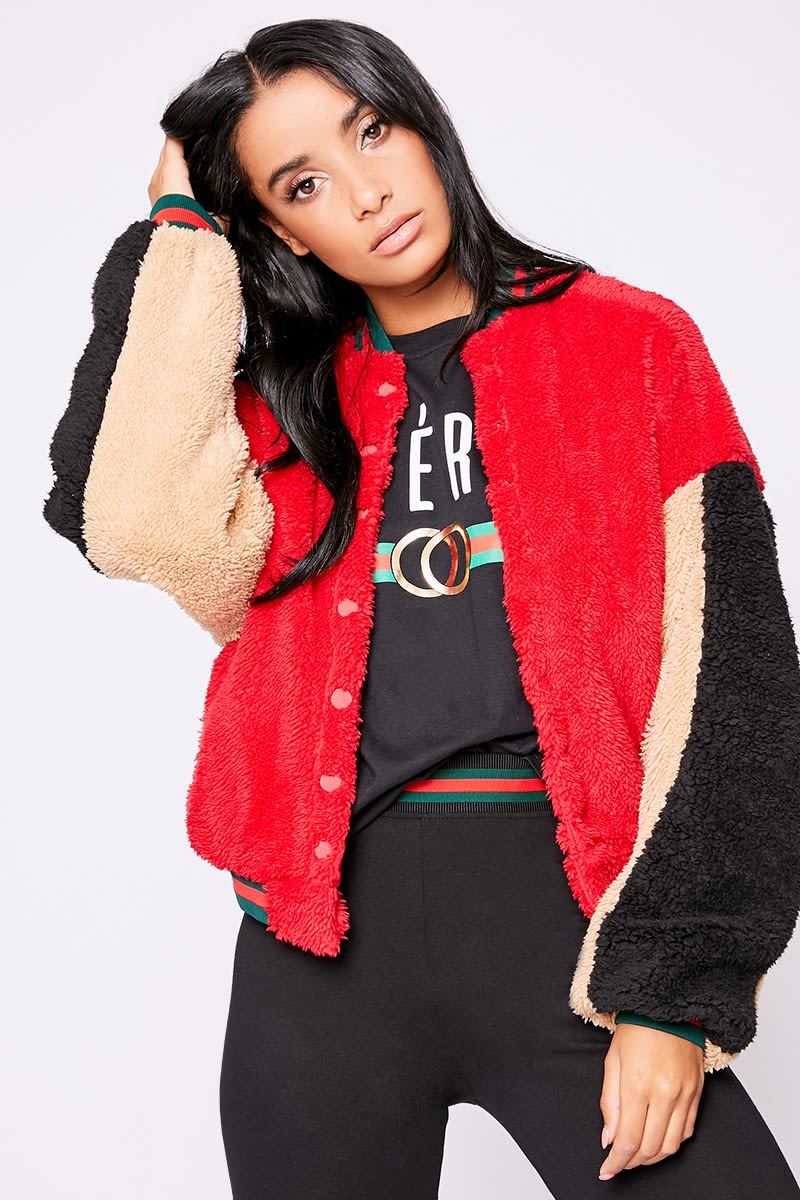 red contrast teddy fur bomber jacket