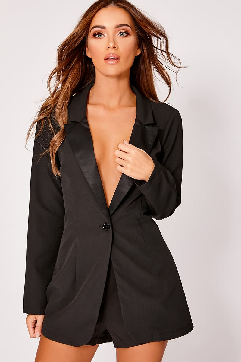 black oversized satin lapel blazer