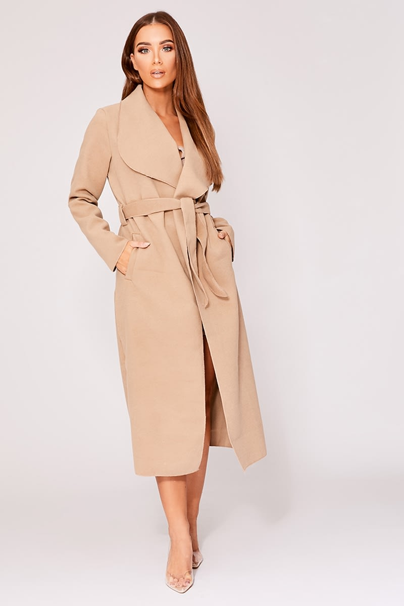 camel belted waterfall jacket