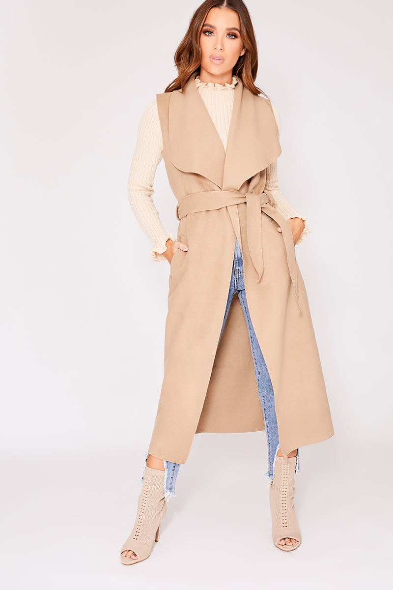 camel sleeveless waterfall jacket