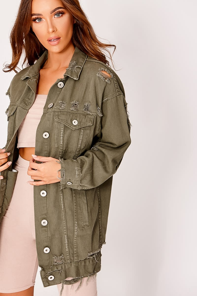khaki longline distressed denim jacket