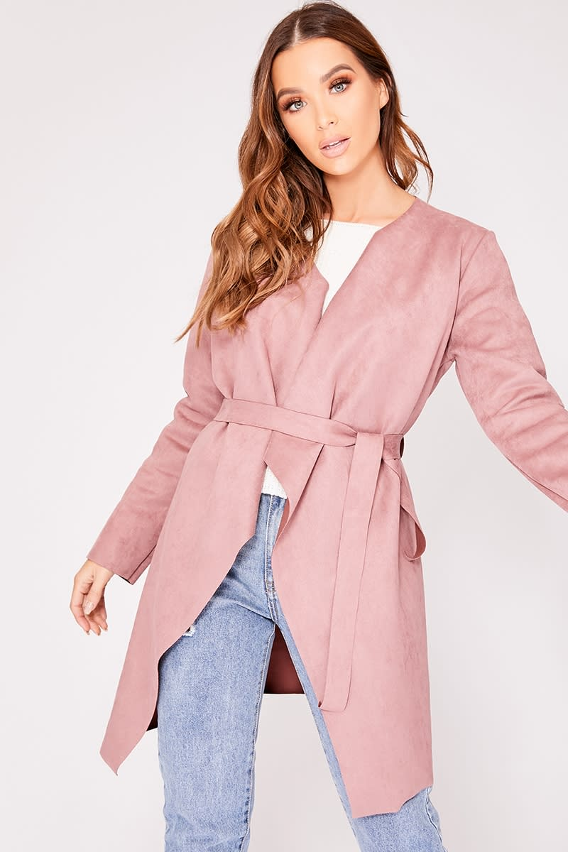 MONICA PINK FAUX SUEDE WATERFALL JACKET