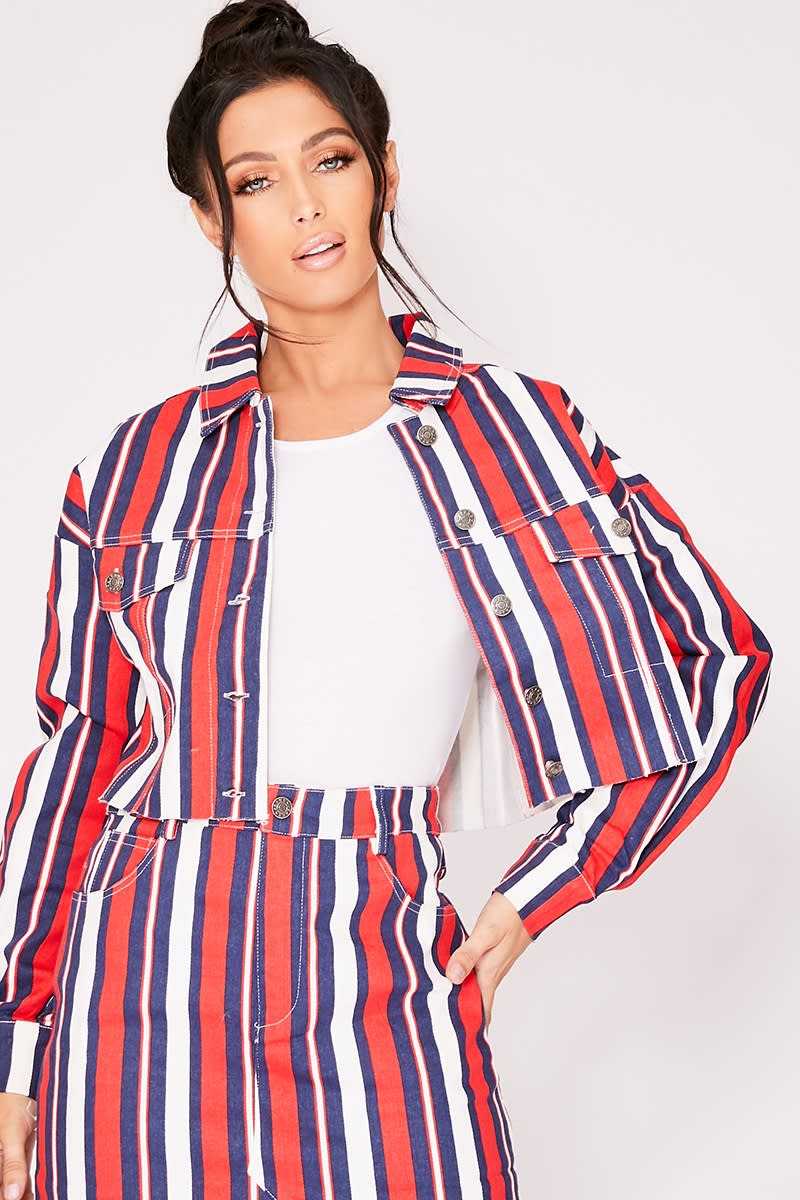 red stripe print cropped denim co-ord jacket