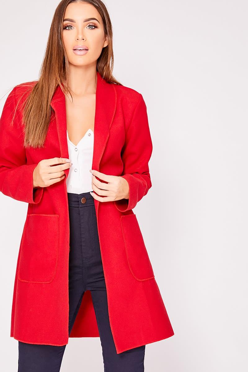 red boyfriend blazer jacket