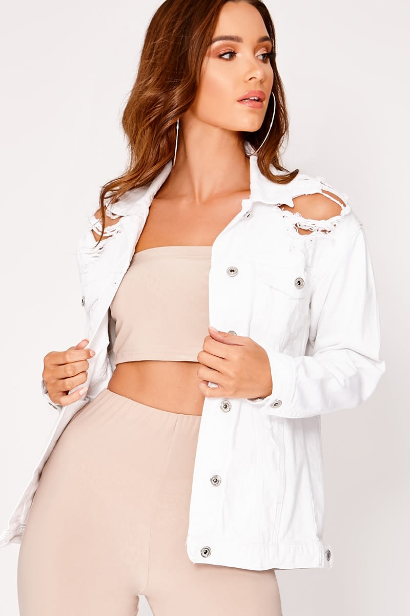 AMIRIA WHITE RIPPED DENIM JACKET