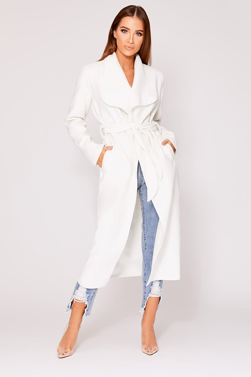 white belted waterfall jacket
