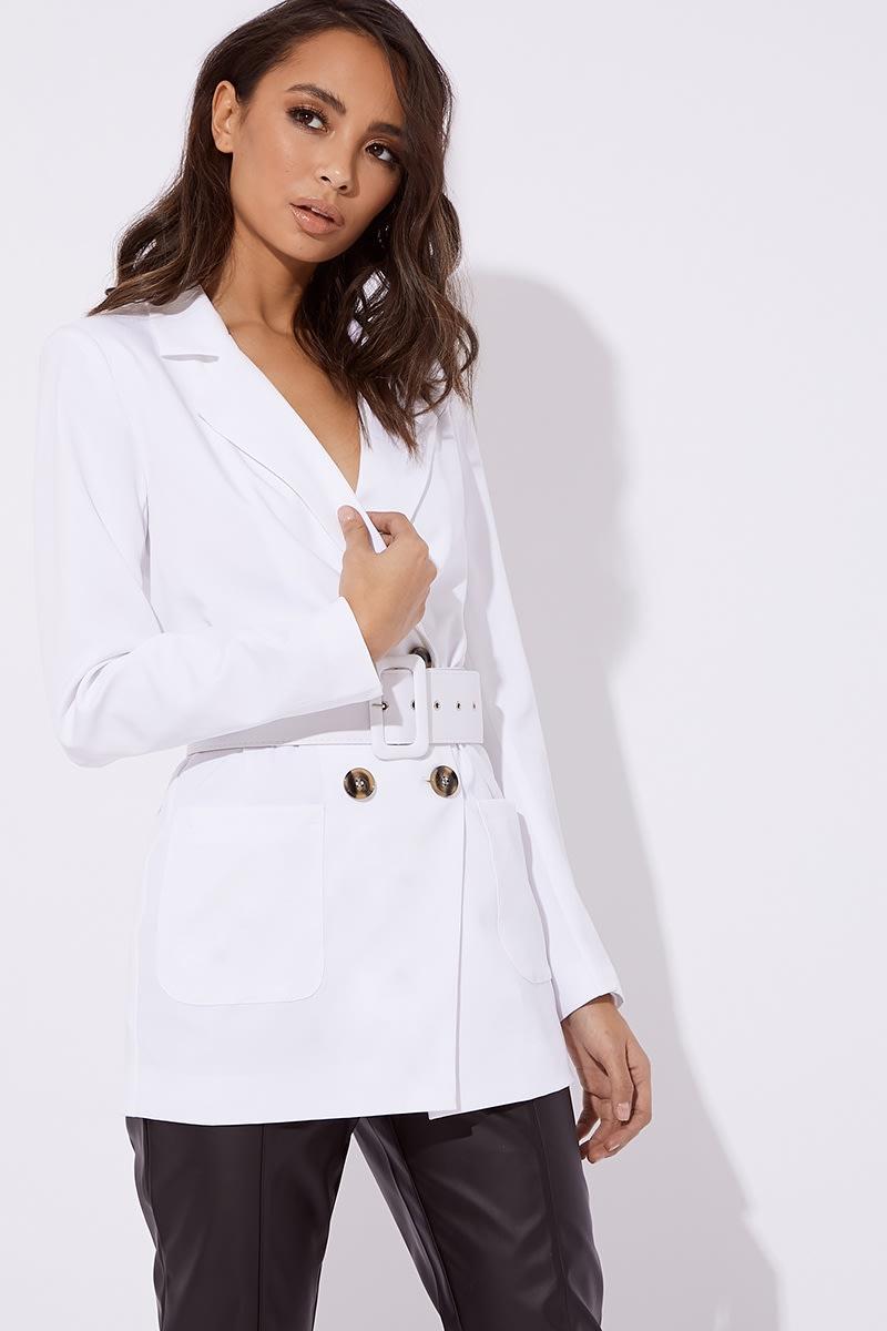 white belted longline blazer