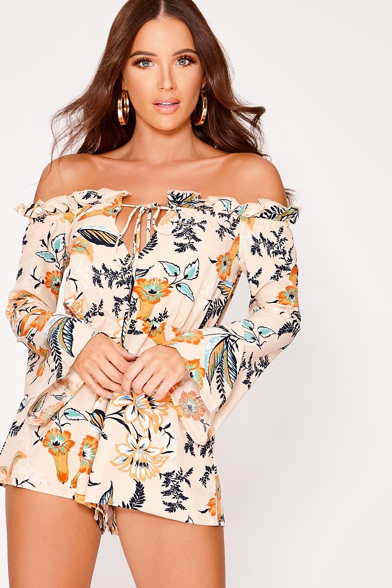 beige floral flare sleeve bardot playsuit