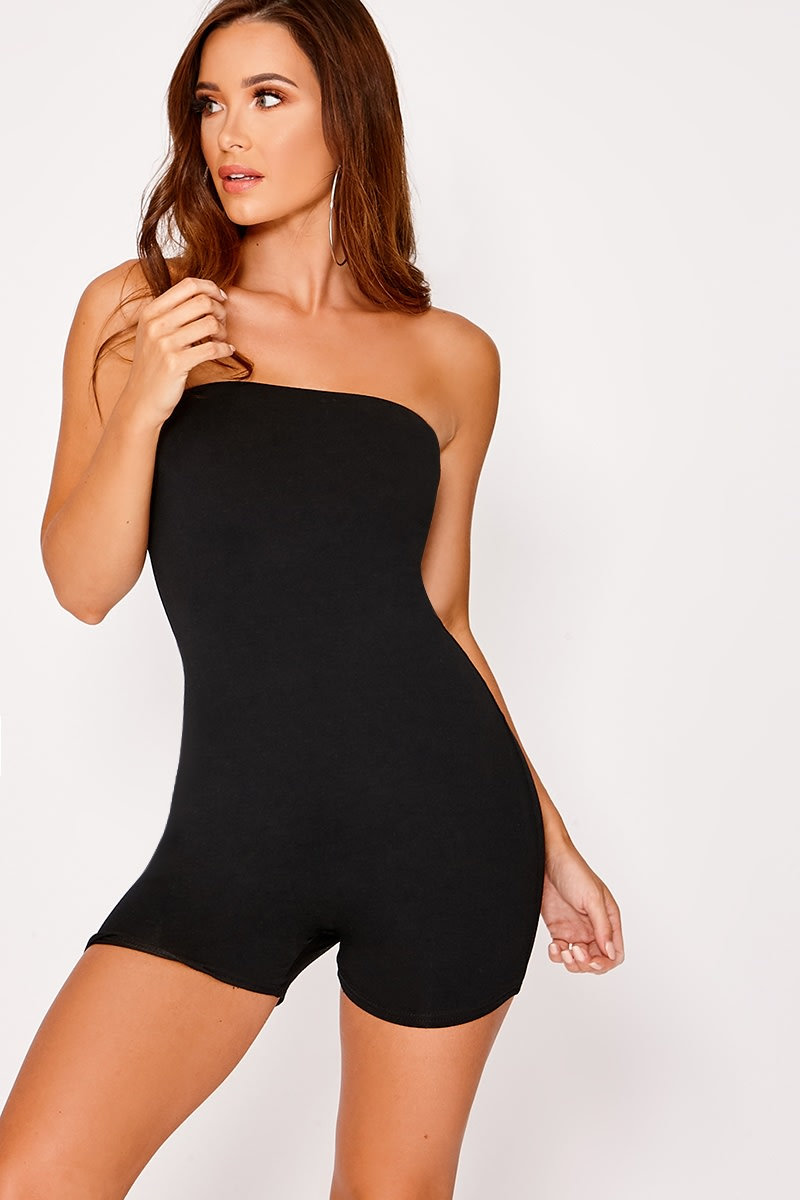 black bandeau jersey unitard playsuit