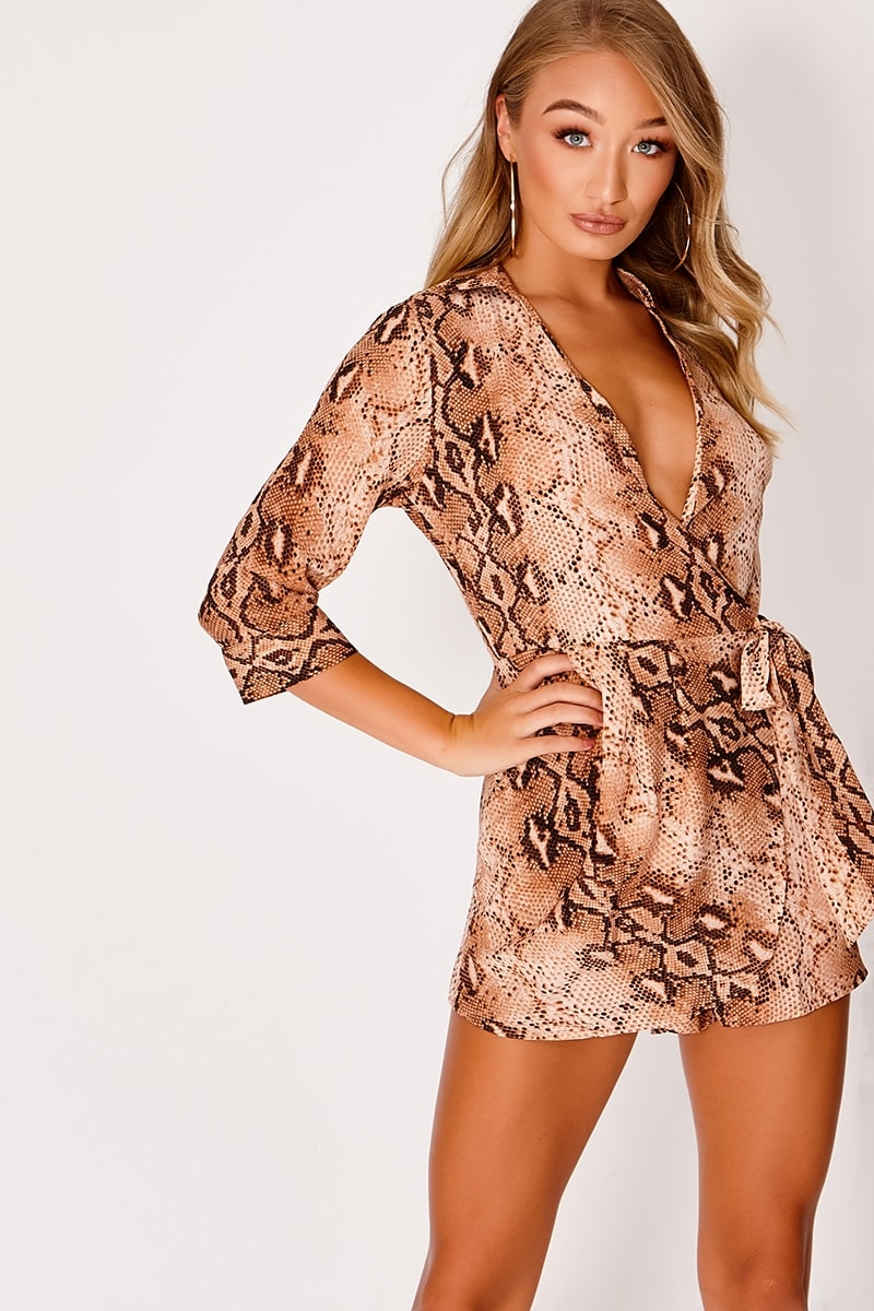 DULCIEH RUST SNAKE PRINT TIE FRONT WRAP PLAYSUIT
