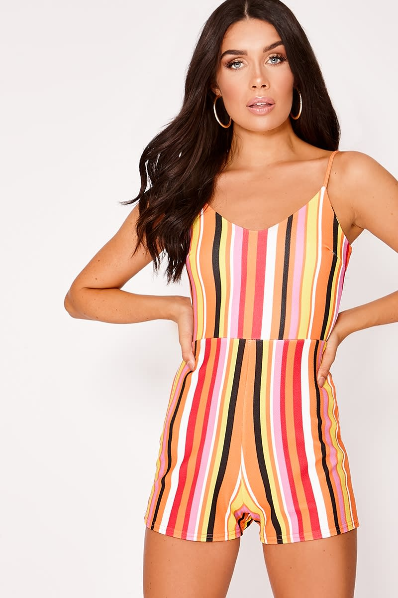 rainbow stripe tie back playsuit