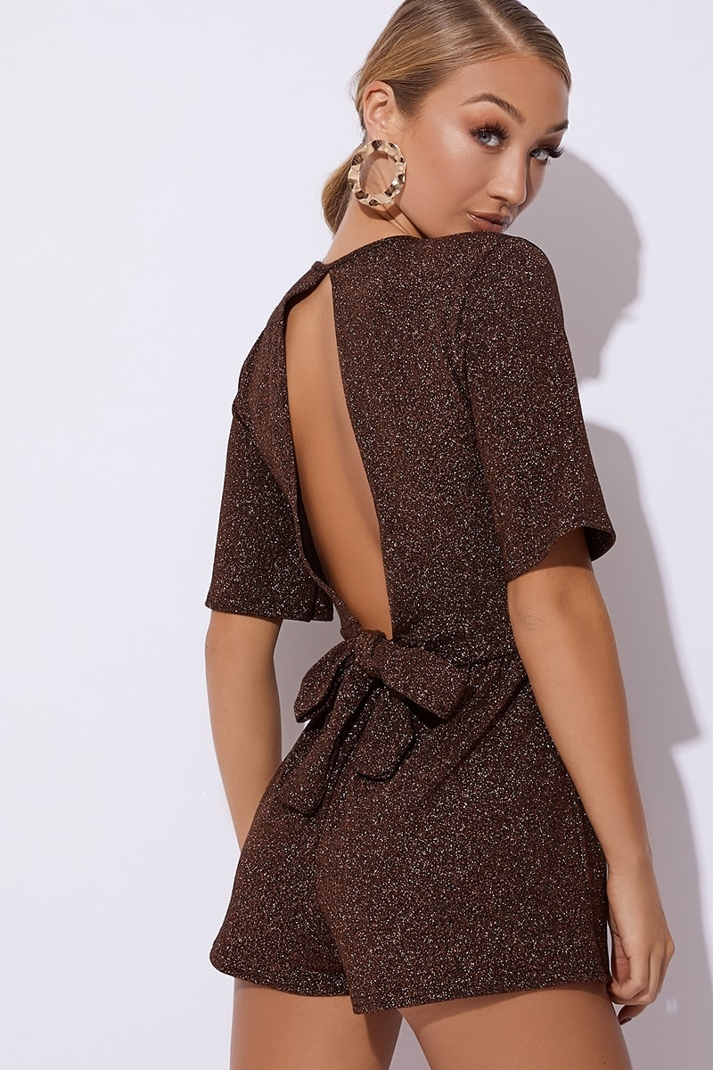 copper glitter wrap front backless playsuit