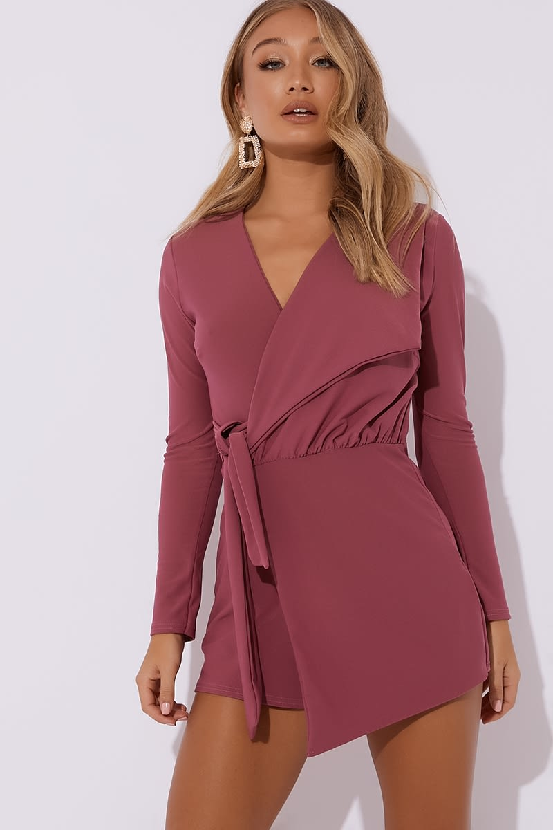 raspberry plunge wrap over playsuit