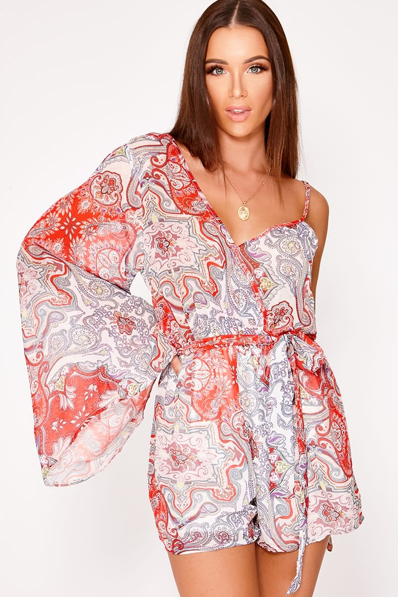 red paisley chiffon one shoulder playsuit
