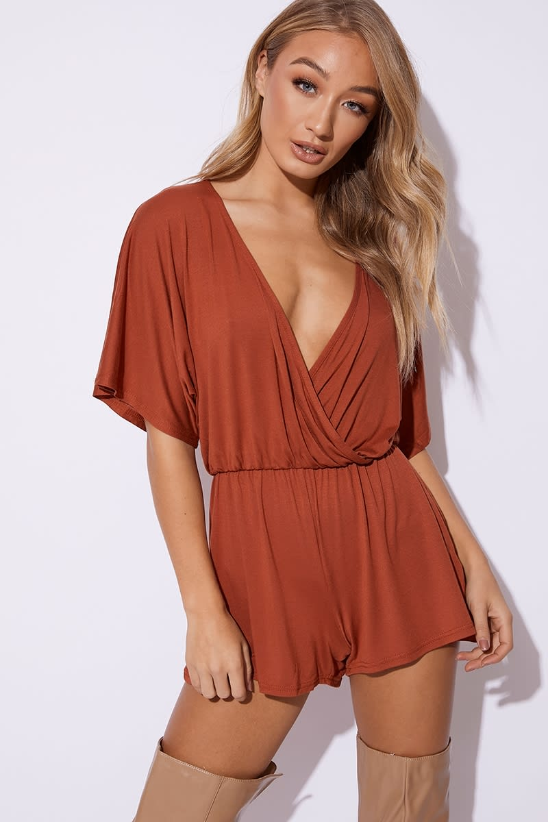 rust jersey plunge wrap playsuit