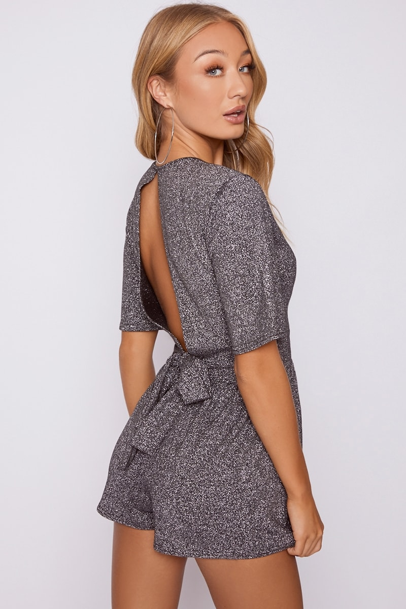 silver glitter wrap front backless playsuit