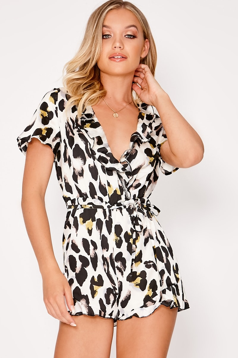 white leopard print satin frill wrap playsuit
