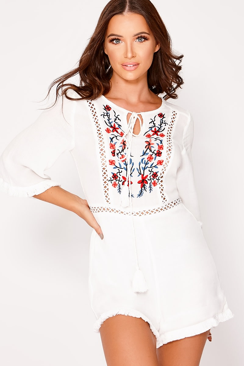 GEYNIE WHITE EMBROIDERED PLAYSUIT