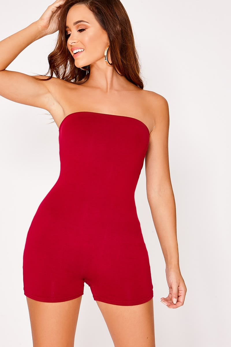 wine bandeau jersey unitard playsuit